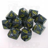 Chessex Vortex Black & Yellow 10 x D10 Dice Set - Discontinued