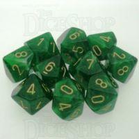 Chessex Vortex Green 10 x D10 Dice Set