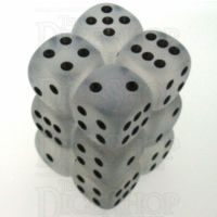 Chessex Frosted Clear & Black 12 x D6 Dice Set