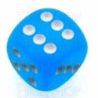 Chessex Frosted Caribbean Blue & White 16mm D6 Spot Dice
