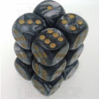 Chessex Lustrous Black 12 x D6 Dice Set