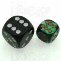 Chessex Gemini Black & Green 12mm D6 Spot Dice