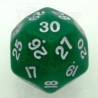 Koplow Opaque Green & White JUMBO 33mm D30 Dice