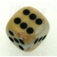 Chessex Marble Ivory & Black 16mm D6 Spot Dice