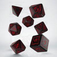 Q Workshop Elven Black & Red 7 Dice Polyset