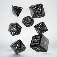 Q Workshop Elven Black & White 7 Dice Polyset