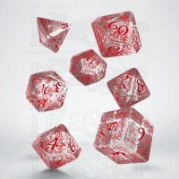 Q Workshop Elven Clear & Red 7 Dice Polyset
