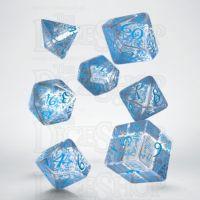 Q Workshop Elven Clear & Blue 7 Dice Polyset