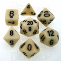 Chessex Opaque Ivory & Black 7 Dice Polyset