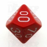 Chessex Opaque Red & White Percentile Dice