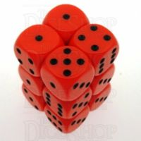 Chessex Opaque Orange & Black 12 x D6 Dice Set