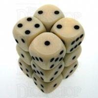Chessex Opaque Ivory & Black 12 x D6 Dice Set