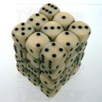 Chessex Opaque Ivory & Black 36 x D6 Dice Set