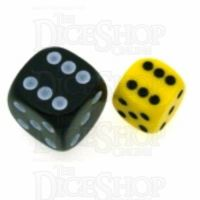 Chessex Opaque Yellow & Black 12mm D6 Spot Dice