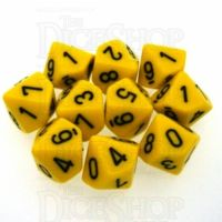 Chessex Opaque Yellow & Black 10 x D10 Dice Set