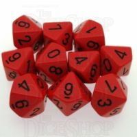 Chessex Opaque Red & Black 10 x D10 Dice Set