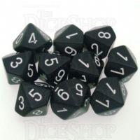 Chessex Opaque Black & White 10 x D10 Dice Set