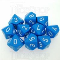Chessex Opaque Light Blue & White 10 x D10 Dice Set
