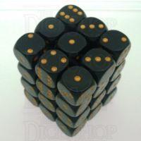 Chessex Opaque Black & Gold 36 x D6 Dice Set