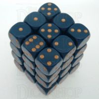 Chessex Opaque Dusty Blue & Gold 36 x D6 Dice Set