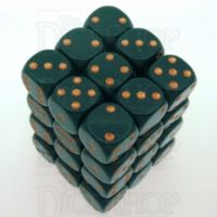Chessex Opaque Dusty Green & Copper 36 x D6 Dice Set
