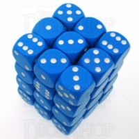 Chessex Opaque Light Blue & White 36 x D6 Dice Set