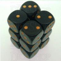Chessex Opaque Black & Gold 12 x D6 Dice Set