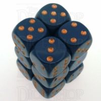 Chessex Opaque Dusty Blue & Gold 12 x D6 Dice Set