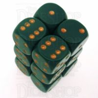 Chessex Opaque Dusty Green & Copper 12 x D6 Dice Set