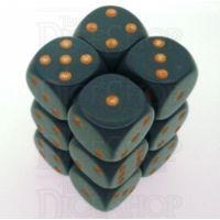 Chessex Opaque Dark Grey & Copper 12 x D6 Dice Set