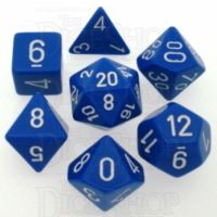 Chessex Opaque Blue & White 7 Dice Polyset