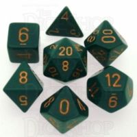Chessex Opaque Dusty Green & Copper 7 Dice Polyset