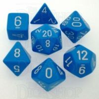 Chessex Opaque Light Blue & White 7 Dice Polyset