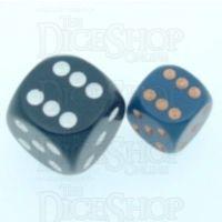 Chessex Opaque Dusty Blue & Gold 12mm D6 Spot Dice
