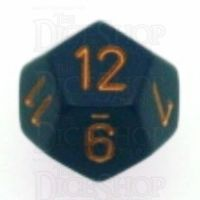 Chessex Opaque Dusty Blue & Gold D12 Dice