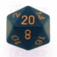 Chessex Opaque Dusty Blue & Gold D20 Dice