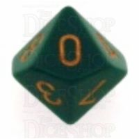 Chessex Opaque Dusty Green & Copper D10 Dice