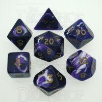 D&G Marble Purple & White 7 Dice Polyset