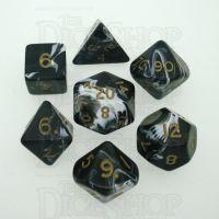 D&G Marble Black & White 7 Dice Polyset