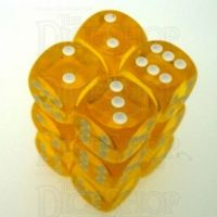 Chessex Translucent Yellow & White 12 x D6 Dice Set