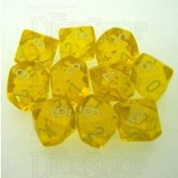 Chessex Translucent Yellow & White 10 x D10 Dice Set