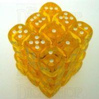 Chessex Translucent Yellow & White 36 x D6 Dice Set