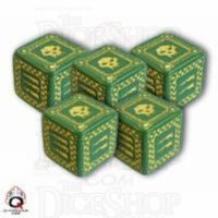 Q Workshop Orc Battle Green & Yellow 5 x D6 Dice Set - Discontinued