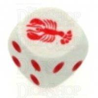Koplow White & Red Lobster Logo D6 Spot Dice