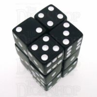 Koplow Opaque Black & White Square Cornered 12 x D6 Dice Set