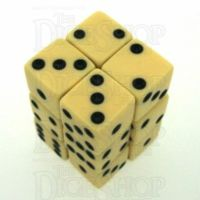 Koplow Opaque Ivory & Black Square Cornered 12 x D6 Dice Set