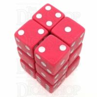 Koplow Opaque Pink & White Square Cornered 12 x D6 Dice Set