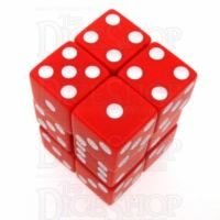 Koplow Opaque Red & White Square Cornered 12 x D6 Dice Set