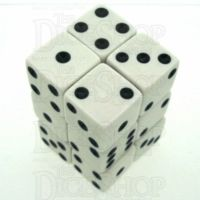 Koplow Opaque White & Black Square Cornered 12 x D6 Dice Set