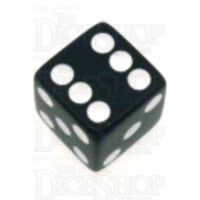 Koplow Opaque Black & White Square Cornered 16mm D6 Spot Dice